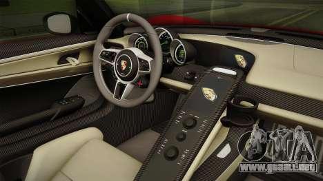 Porsche 918 Spyder 2013 Weissach Package SA para visión interna GTA San Andreas
