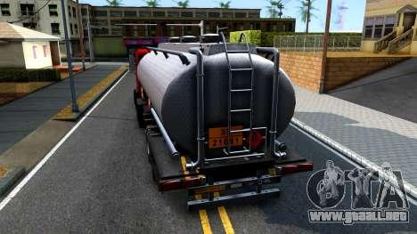 GTA V MTL Dune Oil Tanker para GTA San Andreas vista posterior izquierda