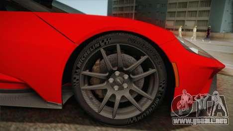 Ford GT 2017 No Stripe para GTA San Andreas vista posterior izquierda
