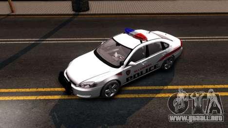 Chevy Impala Blueberry PD 2009 para GTA San Andreas vista hacia atrás
