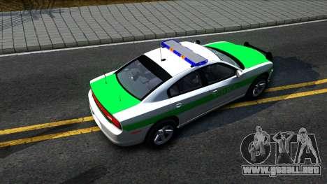 Dodge Charger German Police 2013 para GTA San Andreas vista hacia atrás