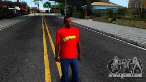 Hulk Hogan T-Shirt para GTA San Andreas segunda pantalla