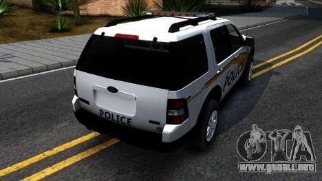 Ford Explorer Metro Police 2009 para GTA San Andreas vista posterior izquierda