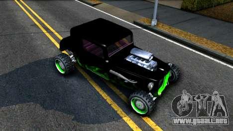 Green Flame Hotknife Race Car para la visión correcta GTA San Andreas