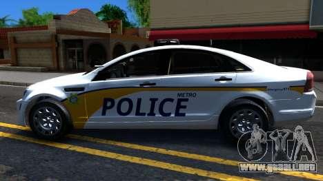 Chevy Caprice Metro Police 2013 para GTA San Andreas left