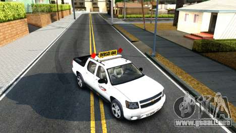 2007 Chevy Avalanche - Pilot Car para GTA San Andreas vista hacia atrás