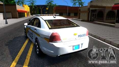 Chevy Caprice Metro Police 2013 para GTA San Andreas vista posterior izquierda