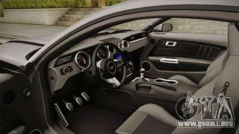Ford Mustang RTR Spec 2 2015 para visión interna GTA San Andreas