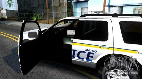 Ford Explorer Metro Police 2009 para visión interna GTA San Andreas