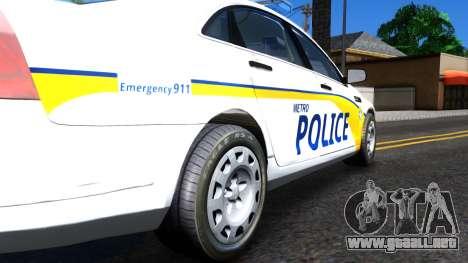 Chevy Caprice Metro Police 2013 para GTA San Andreas vista hacia atrás