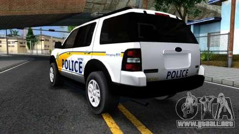 Ford Explorer Metro Police 2009 para GTA San Andreas vista hacia atrás
