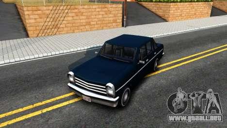 Perennial Sedan para visión interna GTA San Andreas