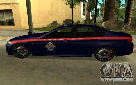 BMW M5 F10 para GTA San Andreas vista posterior izquierda