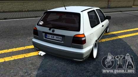 Volkswagen Golf 3 Low para la visión correcta GTA San Andreas