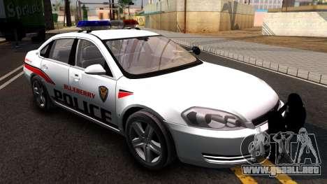 Chevy Impala Blueberry PD 2009 para la visión correcta GTA San Andreas