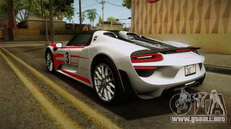 Porsche 918 Spyder 2013 Weissach Package SA para las ruedas de GTA San Andreas