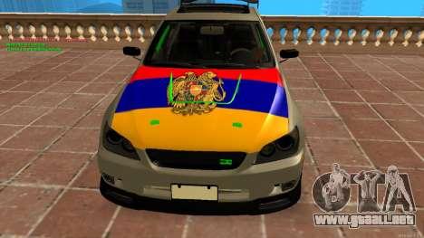 Toyota Altezza Armenian para GTA San Andreas vista posterior izquierda