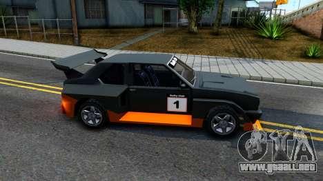 Rally Club para GTA San Andreas vista posterior izquierda