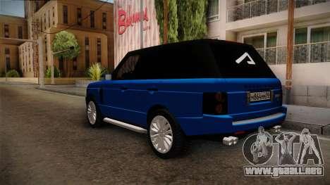 Range Rover 2008 para GTA San Andreas vista posterior izquierda
