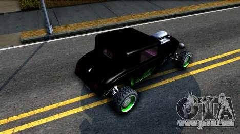 Green Flame Hotknife Race Car para GTA San Andreas vista hacia atrás