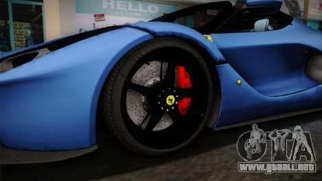 Ferrari LaFerrari Aperta 2017 para GTA San Andreas vista hacia atrás