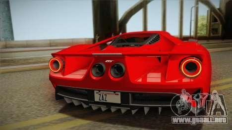 Ford GT 2017 No Stripe para GTA San Andreas vista hacia atrás