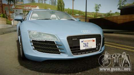 Audi R8 Coupe 4.2 FSI quattro EU-Spec 2008 YCH para visión interna GTA San Andreas