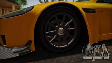 Aston Martin Racing DBRS9 GT3 2006 v1.0.6 Dirt para GTA San Andreas vista hacia atrás