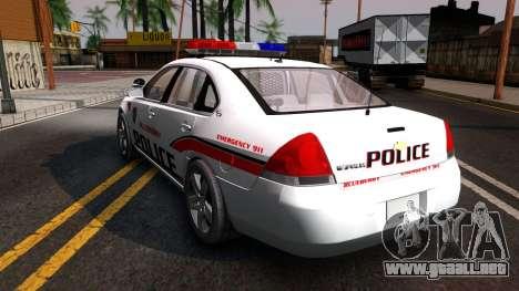 Chevy Impala Blueberry PD 2009 para GTA San Andreas vista posterior izquierda
