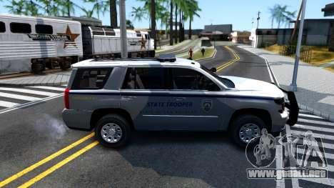 2015 Chevy Tahoe San Andreas State Trooper para GTA San Andreas vista posterior izquierda