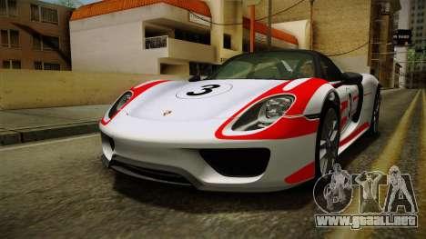 Porsche 918 Spyder 2013 Weissach Package SA para el motor de GTA San Andreas