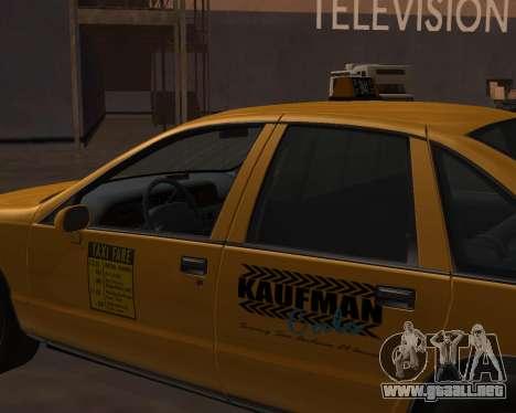 Chevrolet Caprice Taxi Kaufman para la visión correcta GTA San Andreas
