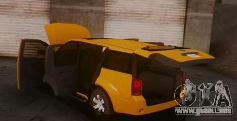 Nissan Pathfinder para GTA San Andreas vista posterior izquierda
