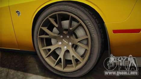 Dodge Challenger Hellcat 2015 para GTA San Andreas vista posterior izquierda