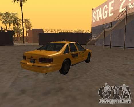 Chevrolet Caprice Taxi Kaufman para GTA San Andreas vista posterior izquierda