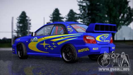 Subaru Impreza WRX STI WRC Rally 2005 para GTA San Andreas vista posterior izquierda
