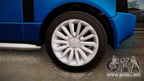 Range Rover 2008 para GTA San Andreas vista hacia atrás