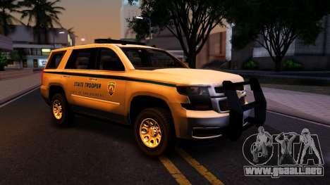 2015 Chevy Tahoe San Andreas State Trooper para visión interna GTA San Andreas