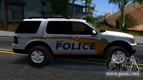Ford Explorer Metro Police 2009 para GTA San Andreas left