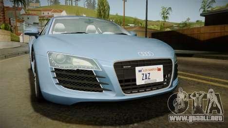 Audi R8 Coupe 4.2 FSI quattro EU-Spec 2008 YCH para vista lateral GTA San Andreas