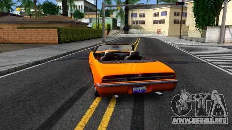 GTA V Declasse Vigero Retro Rim para GTA San Andreas vista posterior izquierda