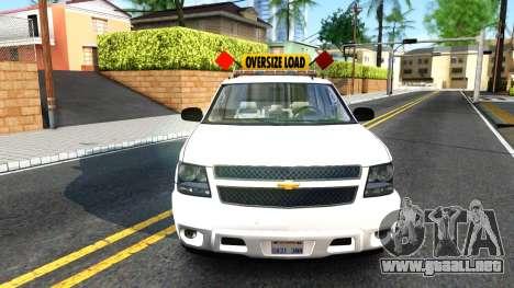 2007 Chevy Avalanche - Pilot Car para la visión correcta GTA San Andreas