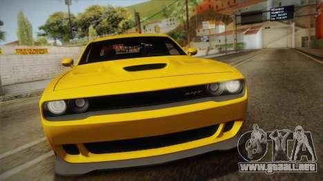 Dodge Challenger Hellcat 2015 para la visión correcta GTA San Andreas