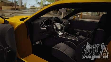 Dodge Challenger Hellcat 2015 para visión interna GTA San Andreas