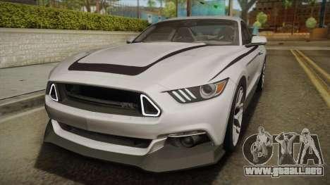 Ford Mustang RTR Spec 2 2015 para vista lateral GTA San Andreas