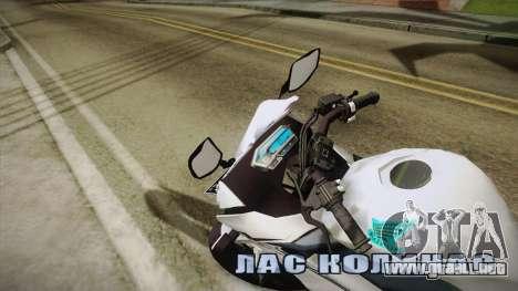 Honda CBR150R 2016 White Row para GTA San Andreas vista posterior izquierda