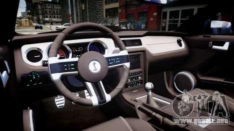 Ford Mustang Shelby GT500 2010 para GTA 4 vista interior