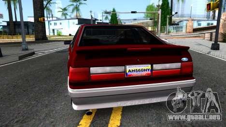 Ford Mustang 1993 para GTA San Andreas vista posterior izquierda