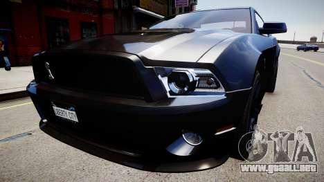 Ford Mustang Shelby GT500 2010 para GTA 4 visión correcta