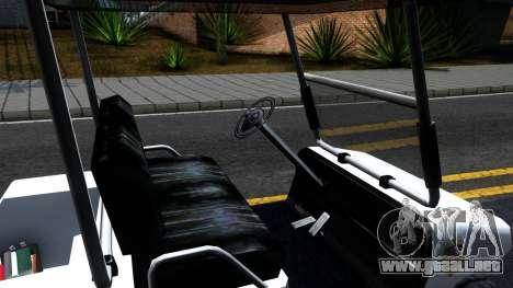 Caddy Metropolitan Police 1992 para visión interna GTA San Andreas
